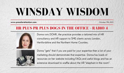 Winsday Wisdom - HR plus PR plus dogs in the office = Radio 4
